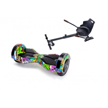 Package Smart Balance™ Hoverboard 6.5 inch, Transformers Multicolor + Hoverseat, Motor 700 Wat, LED