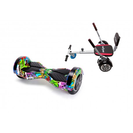 Package Smart Balance™ Hoverboard 6.5 inch, Transformers Multicolor + Hoverseat with Sponge, Motor 700 Wat, LED